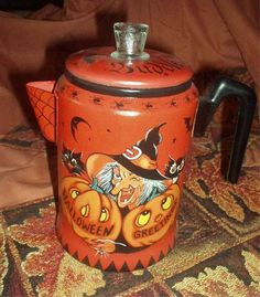 Vintage Aluminum Coffee Pot  Handpainted (by pricklypearstudio, $45)...  but I already have the coffee pot, and the paints -- and imaginations, so I'll save myself the money & paint one on my own!  :)