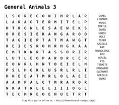 Word Search on General Animals 3