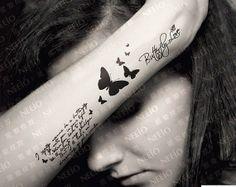 Butterfly Words tattoo sticker Waterproof Sexy by Coolfashion4u, $5.98