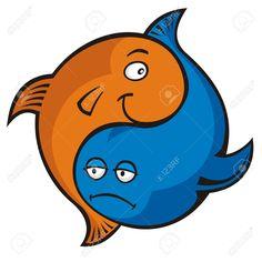 Los pececitos azules y naranjas.