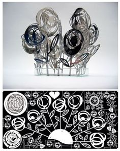 Top image: 'Roses' by Alison Counsell. Photo etched and pierced in stainless steel. Below: Art work for 'Cultured Rose' and 'Bed of Roses'  Design drawn in CorelDraw to produce 2 aligned sheets of pattern for masks for photo etching and piercing. Digital image and photograph: A. Counsell. Coreldraw, Art Therapy, Digital Image, Designs To Draw, Art Work, Piercing, Masks, Ann, Photograph