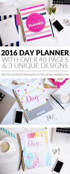 2016 DAY PLANNER ~ your choice of 3 gorgeous designs with 40+ pages each (Blog Planners and Menu Planners also available!) | YellowBlissRoad.com