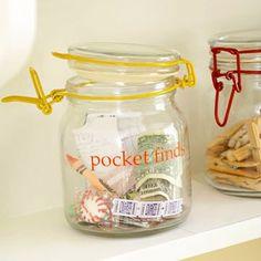 """ótima idéia para a lavanderia: potinho para os """"pocket finds"""""""