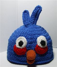 Free Angry Bird Blue Toddler Size Hat Pattern.