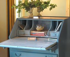 Secretary in Aubusson Blue Chalk Paint® decorative paint by Annie Sloan | Via Wildwood Creek