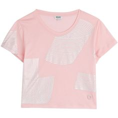 Kenzo Printed Cotton Cropped T-Shirt ($99) ❤ liked on Polyvore featuring tops, t-shirts, crop top, shirts, rose, graphic t shirts, graphic design t shirts, short sleeve t shirts, t shirts and pink t shirt