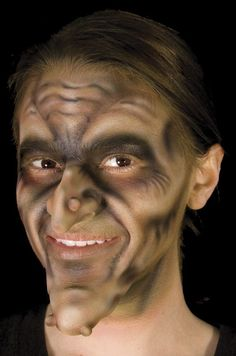 I like how old the wrinkles make her look and the fake nose and warts also adds to the gross theme of the witch.