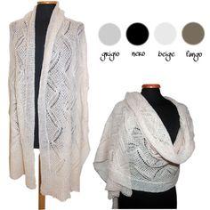 Adoro le sciarpe enormi e morbide! <3 Ampia sciarpa stola mohair traforata lana cm 200 x 78 - vari colori
