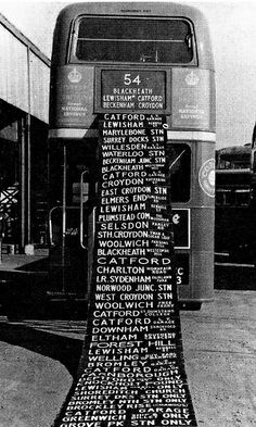 London Transport RT type bus displaying ultimate destination blind, shows all Catford Bus Garage route destinations, driver & conductor had to wind through this looking for their relevant destination!