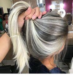 45 Silver Hair Color Ideas For Grey Hairstyles Hair Color And Cut, Ombre Hair Color, Grey Ombre, Hair Colors, Blonde Fall Hair Color, Gray Hair, Blonde Grise, Pinterest Hair, Silver Hair
