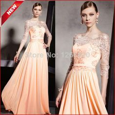 Free Shipping ! 2014 New Beach A-line Half Sleeve Long Lace evening Dresses