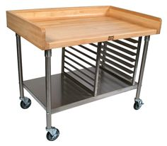 The John Boos Maple-Top Work Table & Cart features a coved riser on the back and both sides, plus a stainless steel base, shelf and bun pan rack. Bakers Table, Bakers Kitchen, Kitchen Cart, Kitchen Storage, Kitchen Ideas, Baking Organization, Commercial Kitchen Design, Baking Station, Build A Farmhouse Table