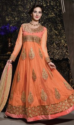 Bring forth your charm and elegance to the forefront dressed in this orange color embroidered georgette long Anarkali dress. The resham and zari work appears chic and ideally suited for any occasion. #GorgeousPartyWearAnarkaliDress