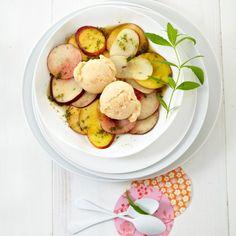 ESSEN & TRINKEN - Pfirsich-Sorbet mit Pfirsichsalat Rezept