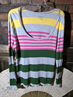 OLD NAVY Ladies Long Sleeve XL Striped Tee Green Yellow Gray Pink EUC #OldNavy #TeeShirt #Casual
