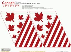 """Who doesn't love flag bunting? I know they put a smile on my face. In honor of tomorrow which is """"Victoria Day// Canada"""" I thought it would be great to share this awesome flag bunting printable from Botanical Read More → Canada Day 150, O Canada, Canada Day Crafts, Canada Day Party, Canada Holiday, Canada Christmas, Bunting Banner, Buntings, Banners"""