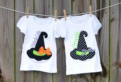 Personalized Halloween Witch's Hat Applique Shirt or Onesie for Boy or Girl on Etsy, $25.00