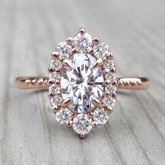 Forever One Moissanite Oval Engagement Ring with Diamond Halo, by Kristin Coffin Jewelry