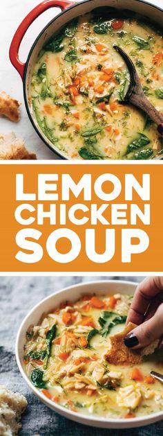 Lemon Chicken Soup with Orzo - Pinch of Yum - Filling, fresh, and vibrant lemony chicken soup made creamy with NO CREAM and a secret ingredient! Chicken Soup, Chicken Recipes, Orzo Recipes, Healthy Chicken, Lemon Chicken Orzo Soup, Lemon Recipes Dinner, Instapot Soup Recipes, Lemon Rice Soup, Cracker Chicken