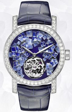 Limited Edition - Chaumet Hortensia automatic tourbillon watch in 18K white gold, set with diamonds with hydrangea décor, alligator strap, 39.9mm diameter