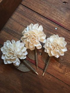 Wood Flower Boutonnières Made By Luv2DIY.com
