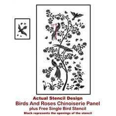 Birds and Roses Chinoiserie Wall Mural par CuttingEdgeStencils