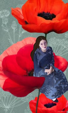 My safe place-Daria Petrilli Art Magique, Modern Surrealism, Weird Creatures, Art Studies, Curled Hairstyles, Female Art, Poppies, Snow White, Disney Characters