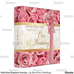 Pink Rose Elegance Custom Wedding Album Binder