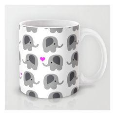 Coffee Mug Elephants with Hearts (€27) ❤ liked on Polyvore featuring home, kitchen & dining, drinkware, elephant coffee mug, heart shaped coffee mug and heart coffee mug