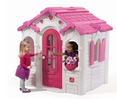 Sweetheart Playhouse is a charming pink & white gingerbread-style play house, perfect for the little girl in your life. Shop this pl Pink Playhouse, Outside Playhouse, Backyard Playhouse, Build A Playhouse, Wooden Playhouse, Playhouse Kits, Simple Playhouse, Outdoor Playhouses, Outdoor Toys