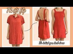 DIY Tie behind open back dress from old dress - Thrift flip - Vintage dress vibe - YouTube