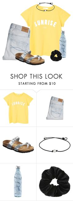 """""""sunrise"""" by ellienoonan ❤ liked on Polyvore featuring MANGO, Abercrombie & Fitch, Birkenstock, S'well and Miss Selfridge"""