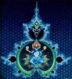 'Event Horizon' by #California n #Artist #Vajra http://enkienterprise.com #Event #Horizon deeply explores the theme of the union of #opposites and arises from a #kundalini #awakening #experience in which Vajra flew through a #fractal #wormhole to a still black lake inhabited by the being depicted here...