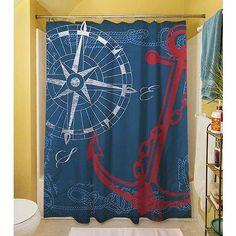 "Thumbprintz Anchors Away Navy Shower Curtain, 71"" x 74"""