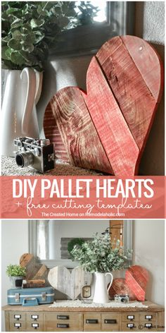 Rustic DIY Pallet Wood Hearts + Free Templates