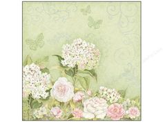 K & Company. Susan Winget Floral Roses Hydrangea- Sheet has a Sage Green background with hydrangea bushes and roses along the bottom of the page.