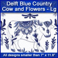 A Delft Blue Country Cow and Flowers Design Pack - Lg design (X9171) from…