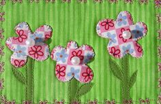 Pink Flower Fabric PostcardHandmade Quilted Postcard by SewUpscale