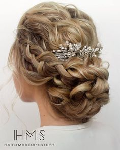Curly and braid bridal updo