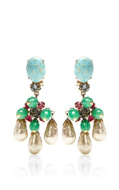 1950S Schreiner Turquoise And Pearl Drop Earrings by House of Lavande