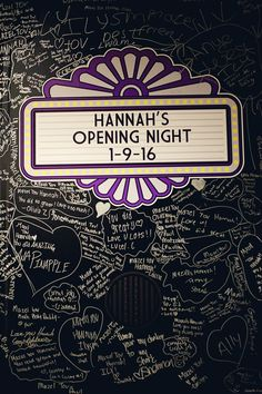 Hannah's Opening Night Broadway Bat Mitzvah Logo Sign In Board at Beth Ami in Rockville, MD | Pop Color Events | Adding a pop of color to Bar & Bat Mitzvahs in DC, MD & VA