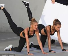 Flexible friends:Romee Strijd and Josephine Skriverlooked like twins as theystruck a variety of yoga poses during a thrilling Victoria's Secret Sport shoot in Los Angeles on Friday