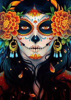 "La Catrina illustration by Maria Dimova from ""How to Create a Vibrant Day of the Dead Portrait in Adobe Illustrator"" on envatotuts+"