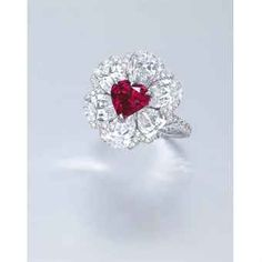 A stunning heart-shaped fancy red diamond and diamond ring, by Moussaieff Diamond Brooch, Diamond Jewelry, Jewelry Rings, Fine Jewelry, Jewellery, Chanel Jewelry, Ruby Jewelry, Diamond Rings, Jewelry Box