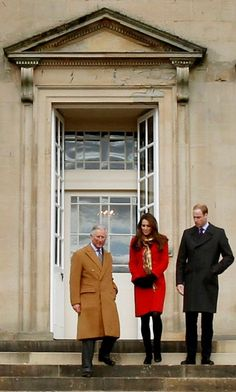 Charles, Duke of Rothesay, William, Earl of Strathearn, and Catherine, Countess of Strathearn (aka Prince Charles, Prince William and Catherine, Duchess of Cambridge, aka Kate Middleton) visiting Scotland, 04/05/13. She's wearing a coat by Armani, Strathearn tartan by DC Dalgleish, and Aquatalia Rhumba boots.