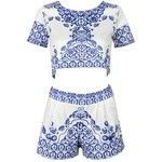 Clothink Women Floral Tile Print Round neck Short Sleeve Crop Top And Shorts