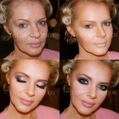 Blonde girl makeup transformation. Pink violet on green eyes and contouring from Talal Morcos @talalmorcos