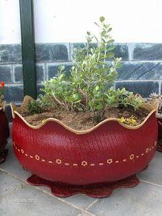 Vaso de Pneu - DIY - * Decoração e Invenção *