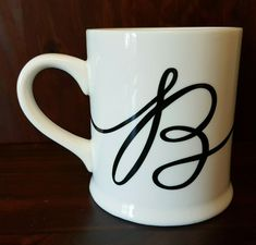 Cursive Letter B Coffee Mug Cup by Indigo White and Black - AS IS   eBay