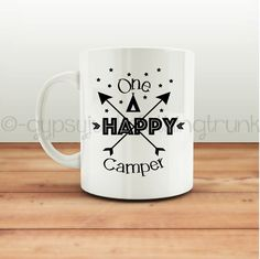Take a sip of coffee with this one happy camper mug. This camping mug set makes a great gift or addition to your own coffee mug collection. For the serious coffee drinker in you. Imagine sitting around a camp fire with your favorite cup of coffee. Great gift for camp leaders, anniversaries and to use for family photos. This mug holds the perfect statement for your favorite camper. Hand crafted thru a dye sublimation process this mug will last for years to come. This 11 oz Ceramic Coffee Mug…